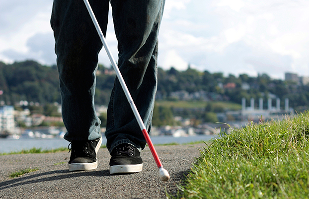 an image of a blind person from the waist down walking along a grass line