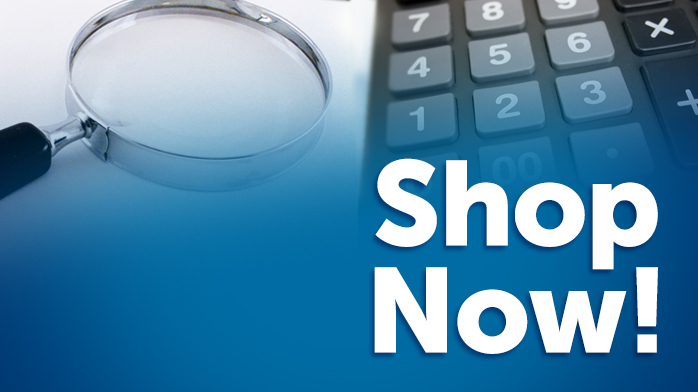 an image of a magnifying glass and a calculator with a blue overlay and the words 'Shop Now'
