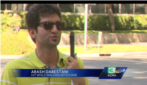 KCRA3 screen shot of Arash standing at the intersection where the incident occurred