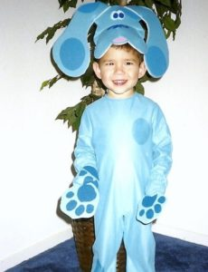 Michael Kinoshita dressed as Blue from Blue's Clues