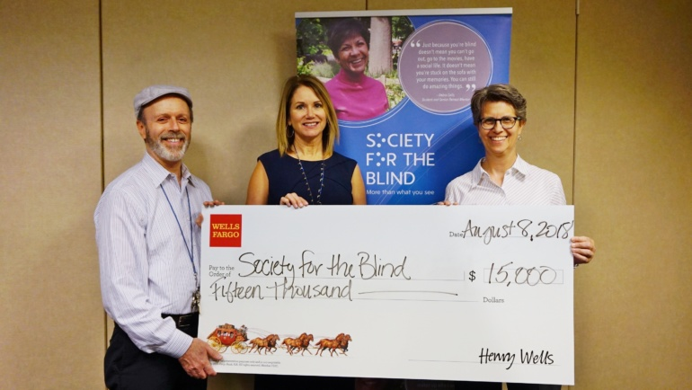 Society Receives $15,000 from Wells Fargo to Provide Education for Seniors Living with Vision Loss