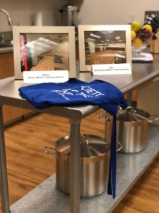 Society for the Blind Apron on the counter of the new Senior Teaching Kitchen
