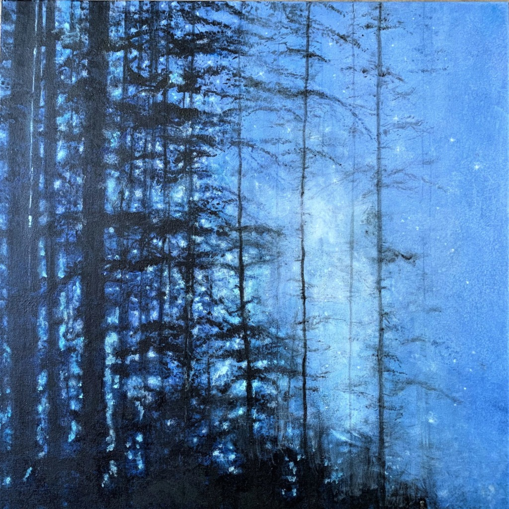 """Kissed By Starlight"" By Dawn Greene, Acrylic on Canvas, 24x24: talk dark trees in the forefront with a deep blue, star-filled sky in the background."